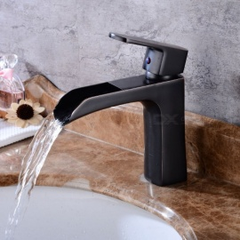 Contemporary Brass Waterfall Oil-rubbed Bronze Ceramic Valve One-Hole Bathroom Sink Faucet w/ Single Handle
