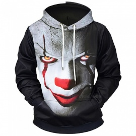 LM807008# Autumn Winter Devil Clown Digital Printing Men/Women Hooded Hoodies Cap Windbreaker Jacket 3d Sweatshirts