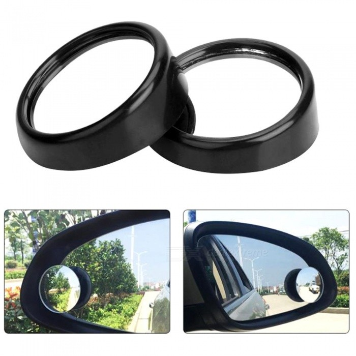 Quelima Car Small Round Mirror 360 Degree Rotating Adjule Angle Blind Spot 2 Pcs