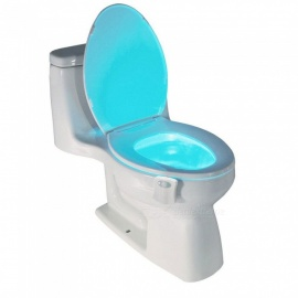 Smart PIR Motion Sensor Toilet Seat Night Light, 8 Colors Waterproof Backlight Toilet Bowl LED WC Nightlight