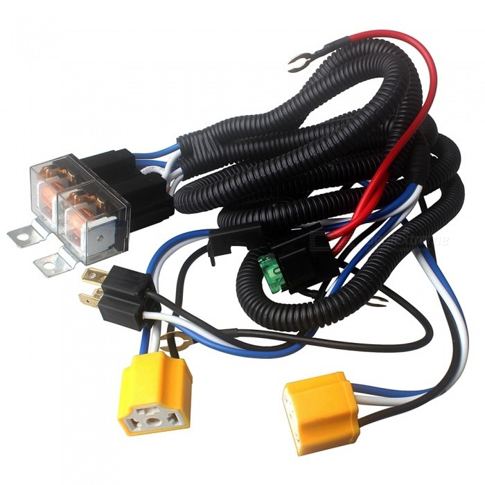 Ziqiao H4 Headlight 7 Inches Relay Wiring Relay Harness With Car