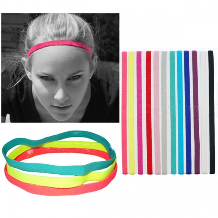 Dx coupon: Outdoor Sports Running Fitness Yoga Elastic Headband Anti-slip Candy Color Reflective Head Bands White