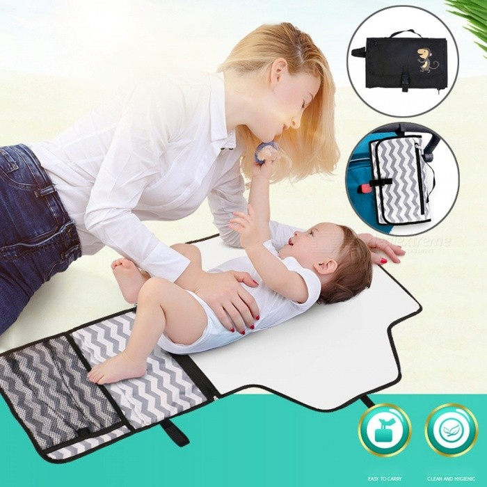 Baby Portable Folding Diaper Changing Pads Waterproof Newborn Diapers Changing Mat Sheet Clutch Care Product Black