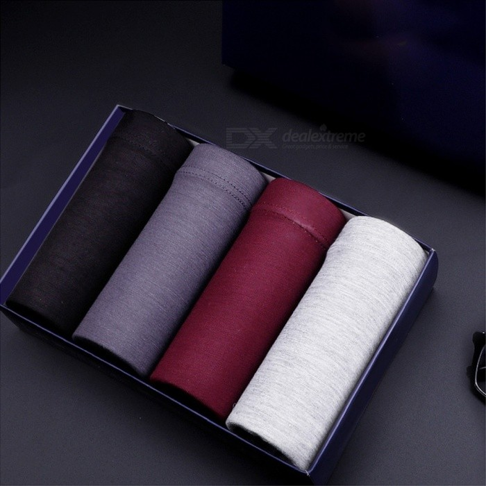 Buy Mens Underwear Modal Boxers Solid Color Shorts 4 PCS/Set Multi/L with Litecoins with Free Shipping on Gipsybee.com