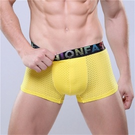 Men\'s Underwear Ice Silk Mesh Breathable Modal Boxers Business Color Waist Shorts Black/L