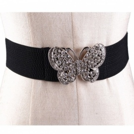 Fashion Women Lady Bowknot Stretch Elastic Bow Rhinestone Wide Stretch Buckle Waistband Waist Belts White