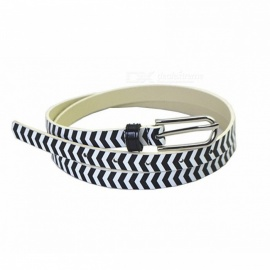 Fashion Striped Pattern PU Leather Women Belt, Simple Slim Waist Belt Waistband For Jeans Dress Decoration Black