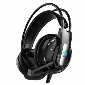 A12 universell 7.1CH gaming headset, 3,5 mm kablet hodebøyle hodetelefon med mikrofon og LED-lys for datamaskin PC svart