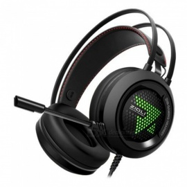 ZH6 USB 7.1CH stereo gaming headset, 3,5 mm kablet hodebånd hodetelefon med mikrofon for PC-PC svart