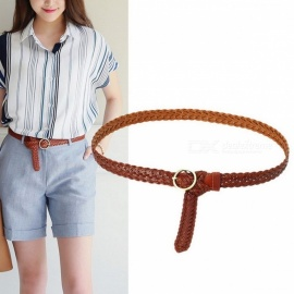 Casual Stretch Elastic Woven Belt, Decorative Women\'s Waist Belt Waistband With Round Buckle For Jeans Dress Black