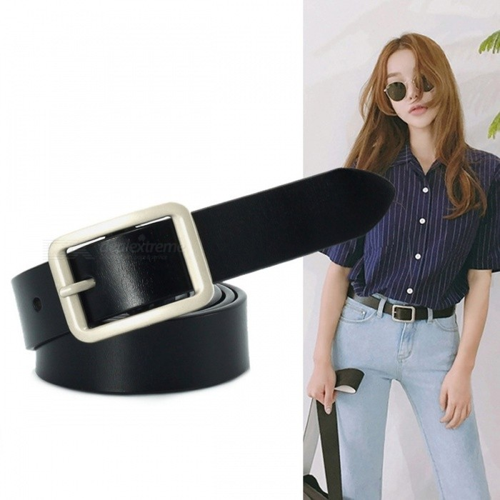 110cm Length Fashion Casual PU Leather Women Belt, Simple Slim Waist Belt Waistband For Jeans Black