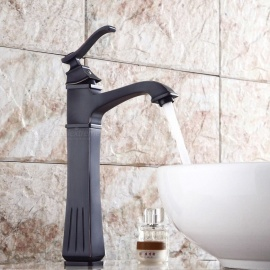 Brass Oil-rubbed Bronze One-Hole Bathroom Sink Faucet with Ceramic Valve, Single Handle