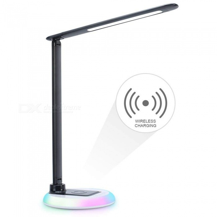Youoklight Dimmable Led Desk Lamp With Wireless Charger Office Usb Charging Port Colorful Night Light Touch Control
