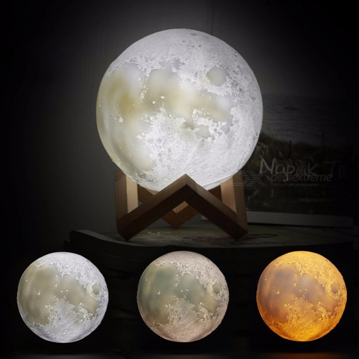 BSTUO 8cm Rechargeable 3D Print Moon Lamp 3 Color Change Touch Switch Night Light