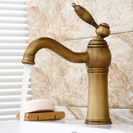 Antique Brass 360 Degree Rotatable One-Hole Bathroom Sink Faucet with Ceramic Valve, Single Handle