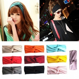Outdoor Sports Fitness Yoga Headband Retro Candy Color Elastic Soft Head Band For Women Black
