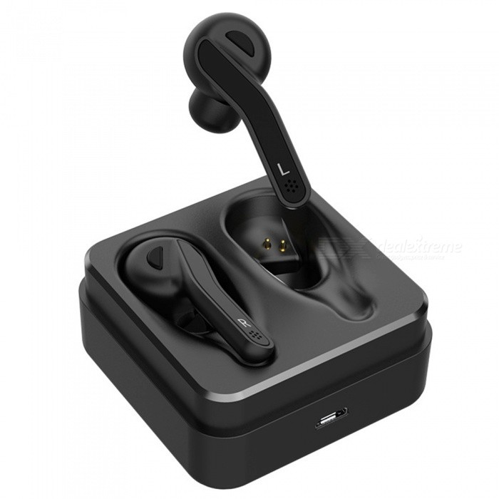 JEDX Double Ear Stereo Music Earphone, Bluetooth V5.0 Wireless Headset Earbuds with Charging Box