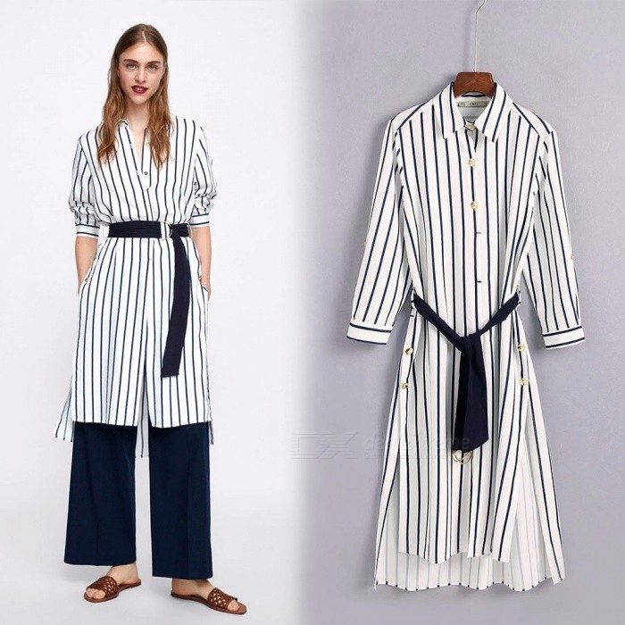 Vertical-Striped-Shirt-Dresses-For-Women-Fashion-England-Style-Turn-down-Collar-Long-Sleeve-Dress-S