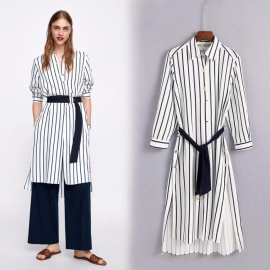 Vertical Striped Shirt Dresses For Women Fashion England Style Turn-down Collar Long Sleeve Dress S