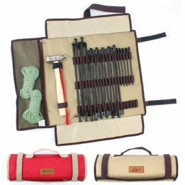 Extra-Long-Nail-Hammer-Tent-Ropes-Outdoor-Camping-Handbag-Ground-Bags-Large-Size-ER52-Red