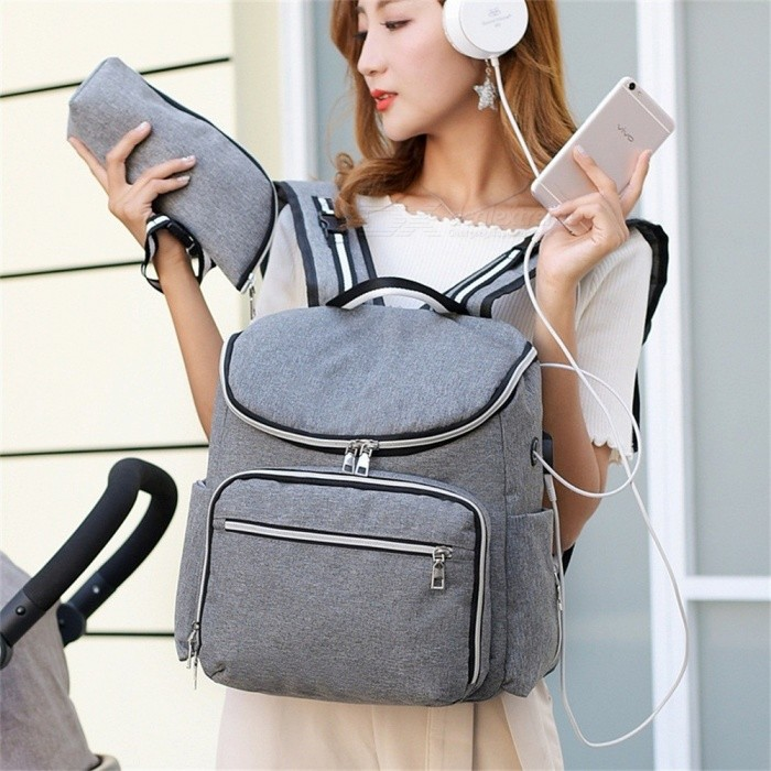 Backpacks-USB-Charging-Interface-Mummy-Bag-Large-Capacity-WaterProof-Baby-Diaper-Bag-Maternity-Carry-For-Baby-Care-Black