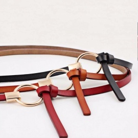 New Design Belts Women Knotted Thin Waist Belts Women Dress Decorate Brown Leather Round Buckle Belt White