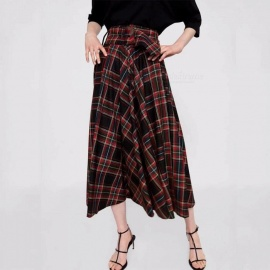 Autumn Plaid Skirts Vintage Fashion Grid Pattern A-Line England Style Pleated High Waist Long Skirt For Women Multi/S
