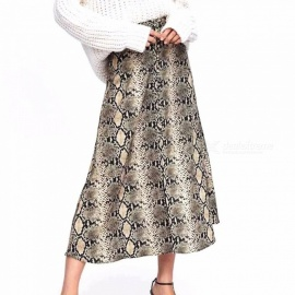 Spring Autumn Summer Snakeskin Print Skirts For Women High Waist Sexy Long Thin Section A-line Skirts Multi/S