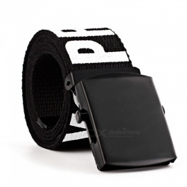 High Quality Popular Weave Letter Printed Buckle Canvas Belt Outdoor Movement Belts For Women Black