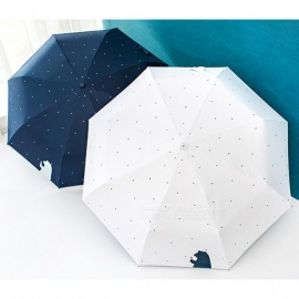 Full Automatic Windproof Travel Umbrella With Black Coating Bear Dot Printed Three-folding Sunny And Rainy Umbrellas White