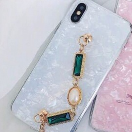 Fashion Diamonds Chain Glitter Style Waterproof Mobile Phone Cases For IPhone 7/8 Plus/X Pink/IPHONE X