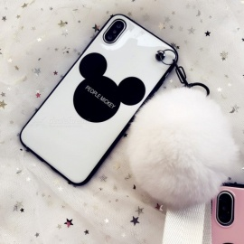 Mobile Phone Case Lanyard Mickey Mouse Ball Top Fitted Cases For Iphone 7/8 Plus/x Black/iphone X/XS