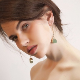 Trend All-match Personalized Earrings Long Section Of The Ear Hook Green Stone Inlaid Earring Green