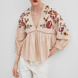 Women's Blouse Floral Embroidery Oversize Cotton Shirts Lantern Sleeve Boho Style Loose Tops Pink/s