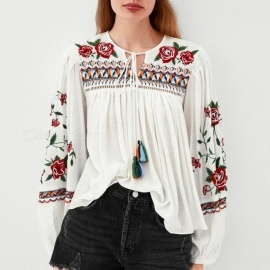 Floral Embroidery Tassel Tie Neck Lantern Long Sleeve Blouse Tassel White Casual Loose Shirts For Women White/s