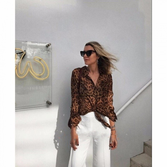 246ba5b879eb27 New Sexy Leopard Print Blouse Top For Women Bowtie Long Sleeve Satin Lace  Up Shirts Leopard/M