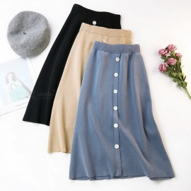 Women's Knitted A-line Skirt And Solid Color Button Big Stretch High Waist Long Skirts Black/one Size