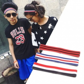 Unisex Sports Yoga Striated Headbands Elastic Turban Stretch Hair Bands Accessories Black