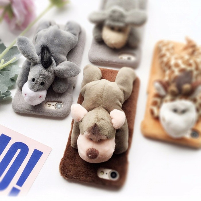 Fashion Plush Animal Toy Phone Cases Cartoon Cute Lovely Doll Cover Case For IPhone X/7/8 Plus Gray/iphone7/8