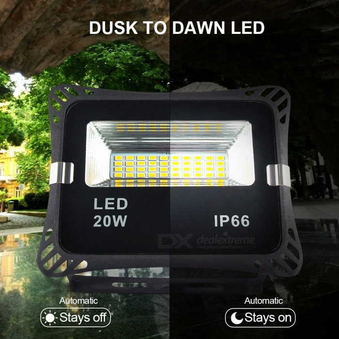 MIFXION 20W Dusk to Dawn LED Security Light, Wall Mount Floodlight Waterproof Auto on/Off Exterior Lighting for Entryways Yard