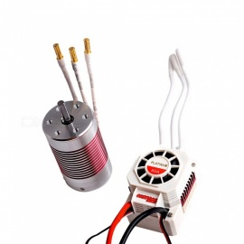 Waterproof 3650 5200KV Brushless Motor+60A ESC Combo Set for 1/10 RC Car Truck Crawler High efficiency Red Silver