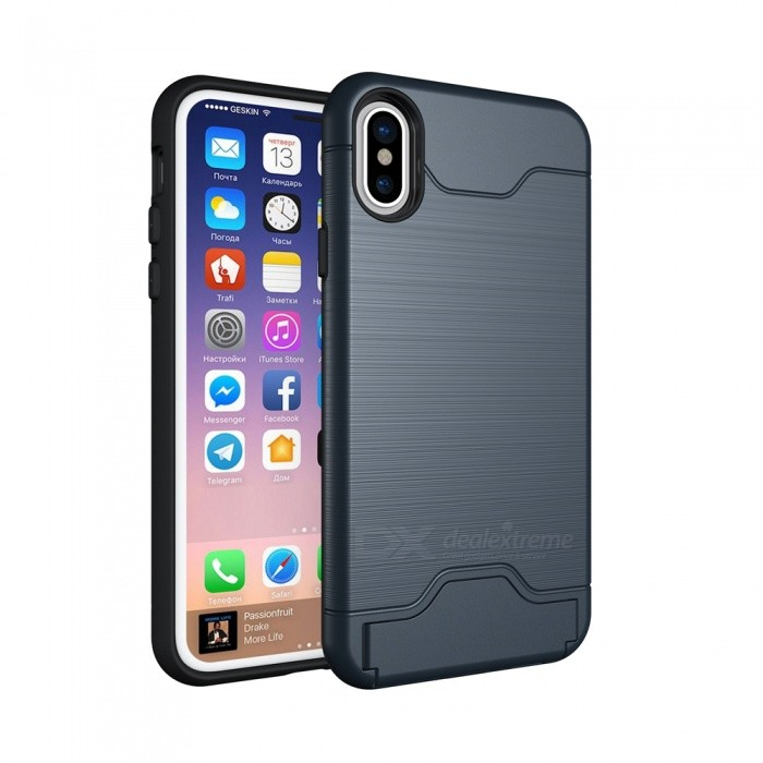 Mini Smile PC + TPU 2 in 1 Shock-Proof Protection Back Case Cover with Card Slot / Stand for IPHONE XS / X