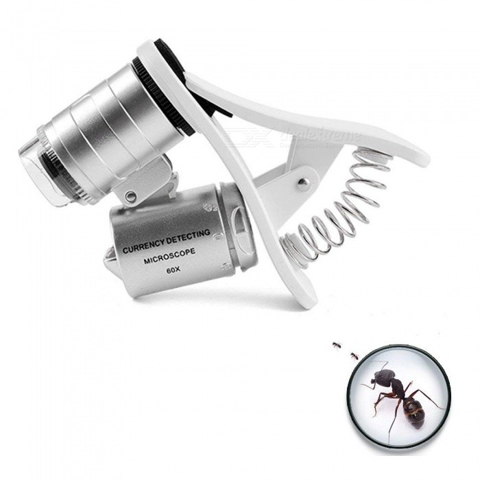 60X Zoom Clip-On Type Cellphone Microscope Magnifier with LED/UV Lights for Universal Smartphones