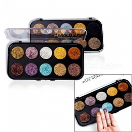 MISS ROSE 10 Colors Eye Shadow Glitter Eyeshadow Palettes Eye Makeup Sequins Shining Long Lasting Loose Powder Purple