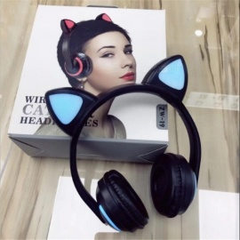 Cute Cat Ears Style Wireless Bluetooth Headset Folding Overear Headphone With Light Black