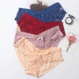 a65955ff3e3 Sexy Lace Mesh Gauze Patching Womens Underwear Fashion Soft Cotton Crotch  Breathable Underwear For Women Beige
