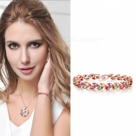 Fashion Colorful Leaf Style Zircons Bracelet For Women Shiny Chain Jewelry For Gifts Multi