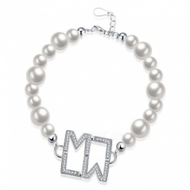 SVH011 Rhinestones Decorated M L Letters Charm Bracelet Fashion S925 Sterling Silver Pearl Beaded Bracelet For Women Silver