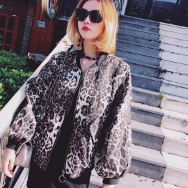 Women\'s Fashion New Leopard Casual Loose Zipper Batwing Sleeve Baseball Uniform Jacket Leopard/M