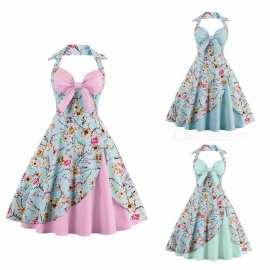 Summer Dress Halter Bow Strapless Patchwork Vintage Sleeveless Party Floral Printed Dresses For Women Sky Blue/S